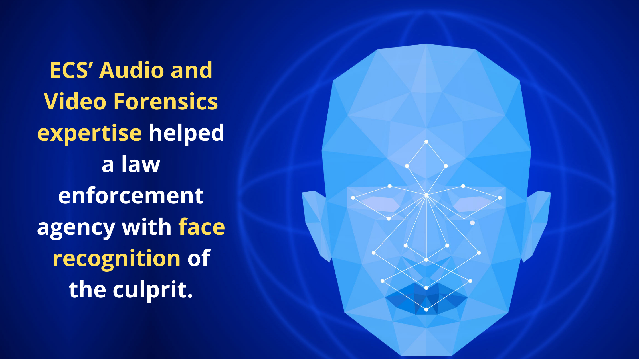 ECS' audio and video forensics expertise helped a law enforcement agency with face recognition of the culprit.